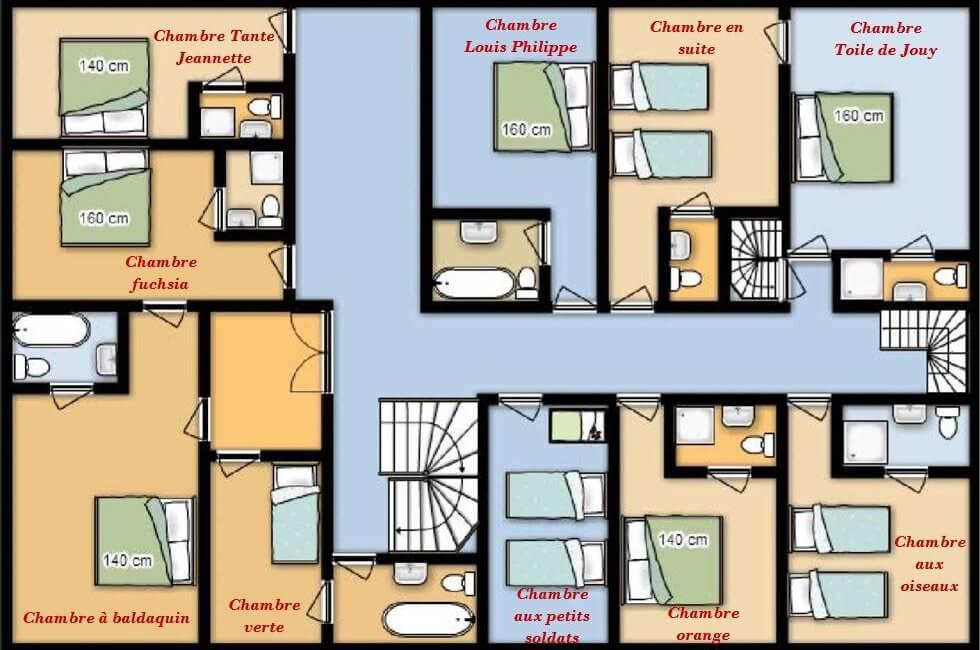 Plan 1er étage chateau avec naming