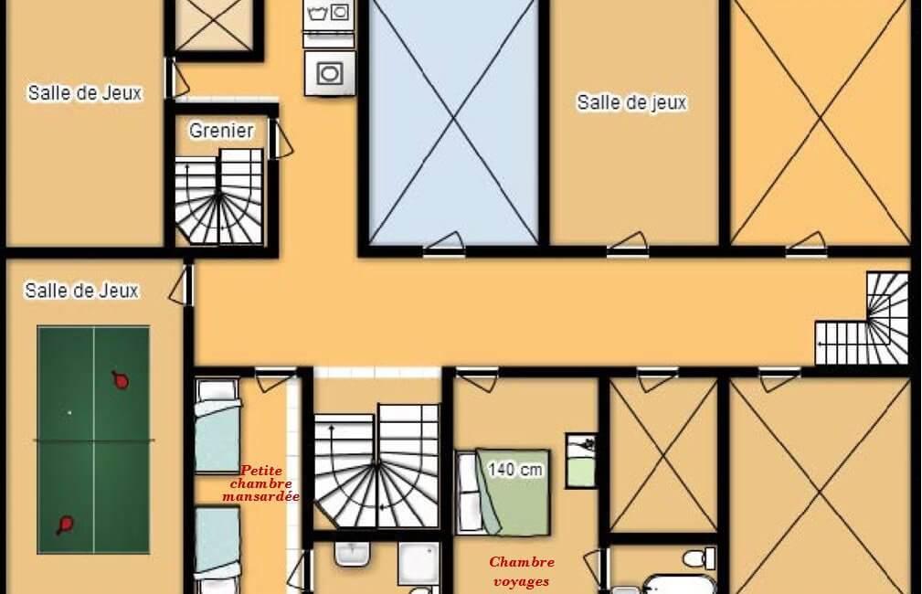 Plan 2e étage chateau avec naming